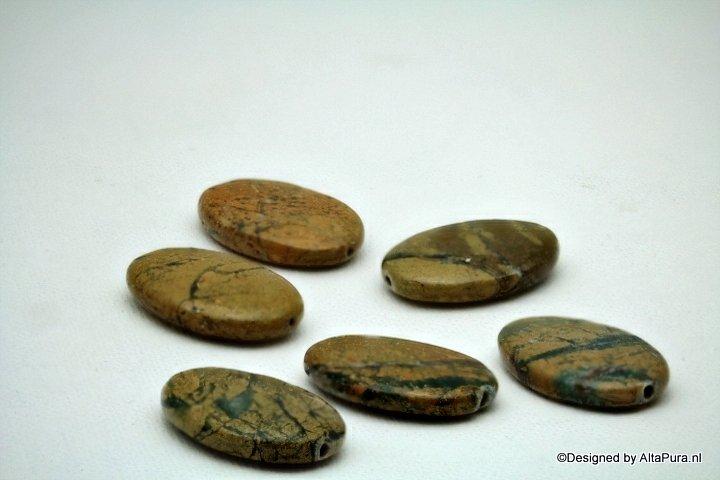 6 Schitterende Green Earth Jaspis kralen  K2022