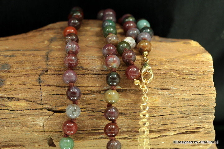 8 mm 60 cm Indian Agaat collier dubbel geknoopt Collier C192