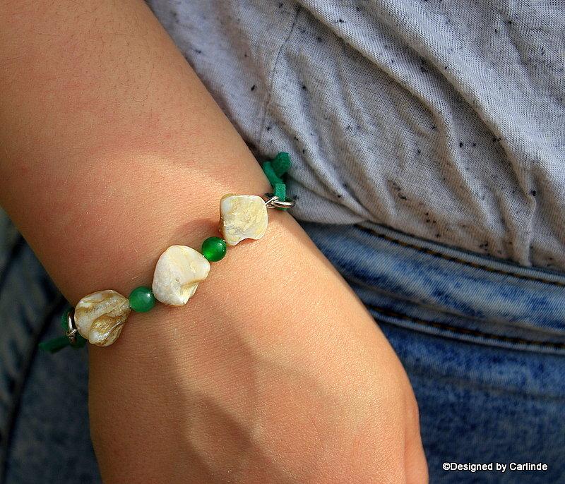 Leuk  Armband van White Abalone schelp A2231