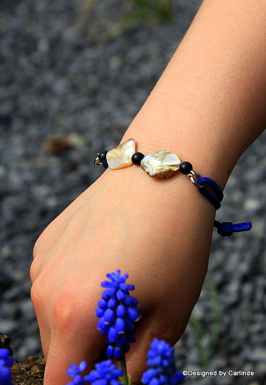 Leuk  Armband van White Abalone schelp  A2229
