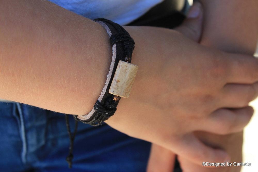 Chique leren Armband beschermende Jaspis A2247