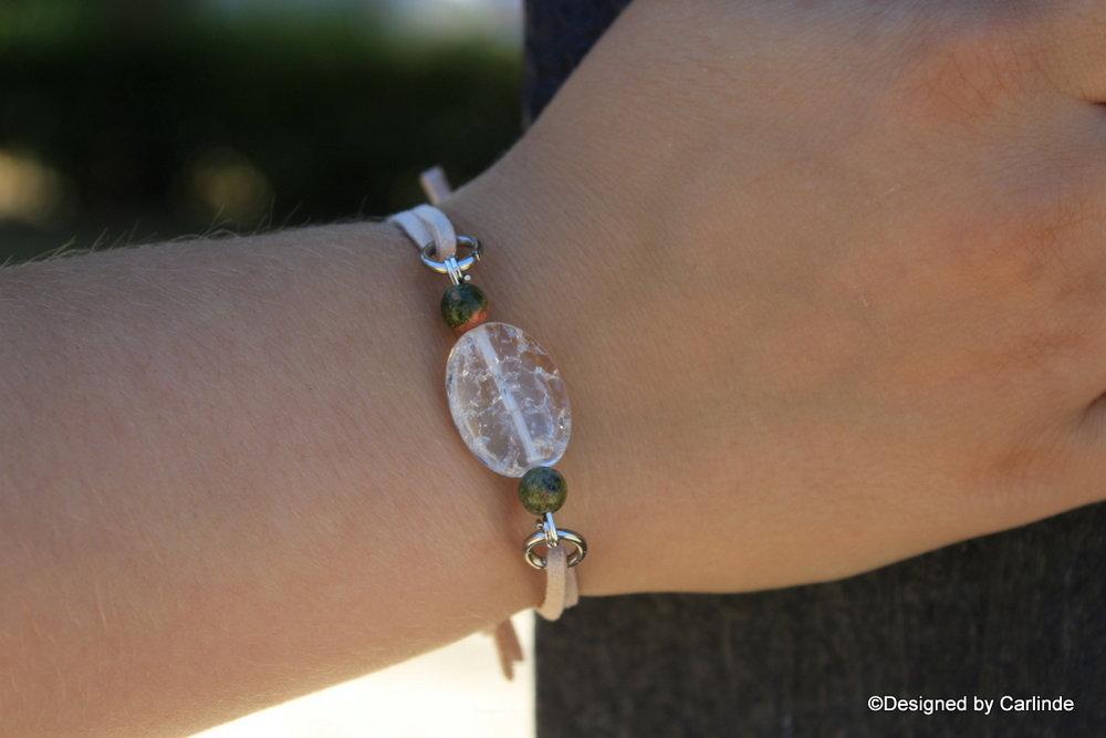 Mooi easy Design Armband met bergkristal en Malachiet A2250