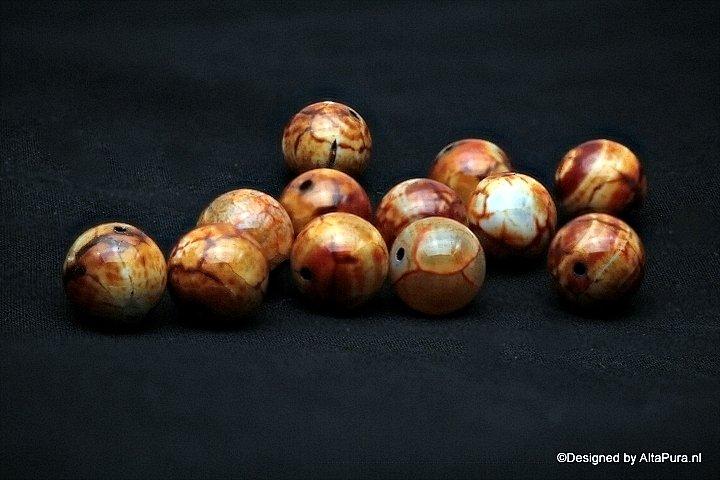 10 stuks Schitterende Landschaps Agaat kralen  14 mm kralen   K569