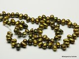 Gold stained Agaat nuggeterwten, ca.84sts op streng, ca6-8mm lang en ca.6mm dik_K2306_
