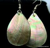 Mooie  oorhangers van Gepolijste White Abalone schelp O111_