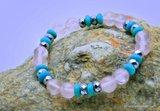 Mooie  Armband van Geslepen Rozenquarz , Turquereniet  met Hematiet A1327_