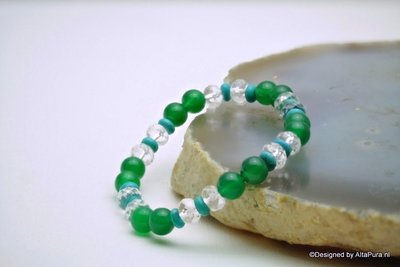 Chique facet geslepen armband van Bergkristal, Turquereniet en Smaragd Agaat A1310