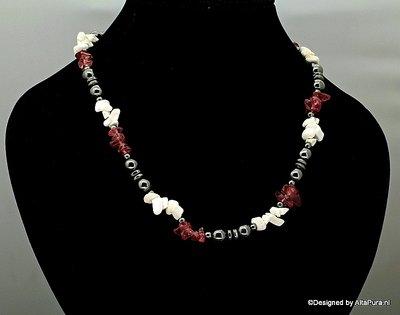 Mooi easydesign collier van Hematiet met Donkere Strawberry quarz C430