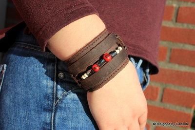 Krachtige leren Armband met Magnetiet A2204