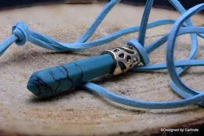 Krachtige talisman van Turquereniet  met suede koord C511
