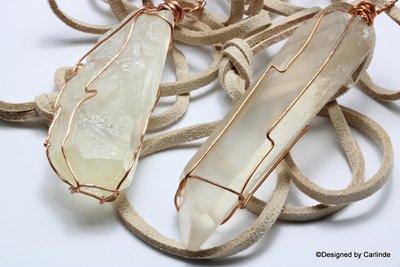 Krachtig, wrapped, bergkristal uit Minas Gerais incl verstelbaar halskoord C67