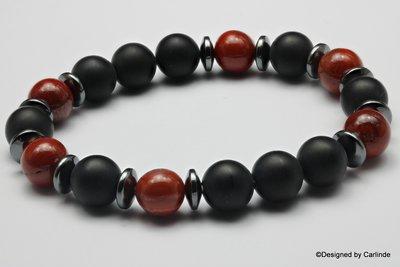 Mooi Armband met Jaspisen gematteerde Obsidiaan A2265