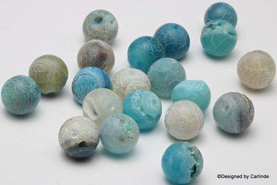 Ca.20sts Frosted Blue-agaat kralen ca.10mm K2111