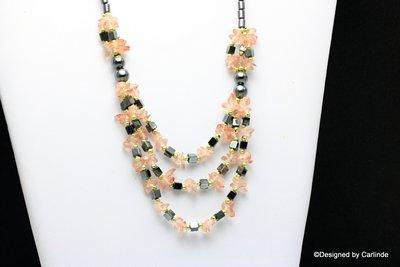 Mooi easydesign collier van Hematiet met cherry quarz C423