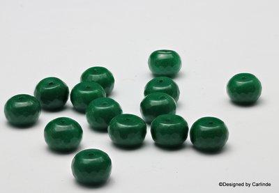 ca.14sts Rondelachtige gefacceteerde groen agaat kralen K2201