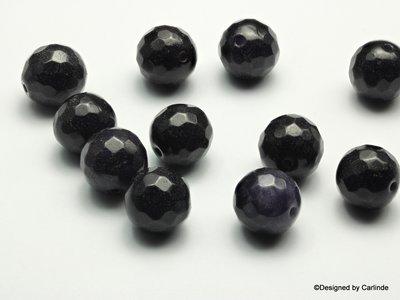 Gefacetteerde Donkere Agaat kralen, ca.12/13mm, Voor stevigheid en standvastigheid K23001