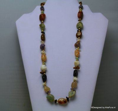 Indian style multi stone geknoopt Collier C434