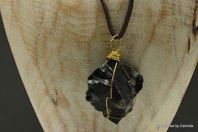 Ruwe Brokken wrapped Sneeuwvlok Obsidiaan c2201