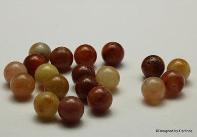 Ca19sts schitterende Honing Jade kralen, ca.10mm, in mooie ton-sur-ton tinten K2329
