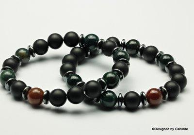 Mooi Armband met Jaspis, groen en bruin, en gematteerde Obsidiaan A2276