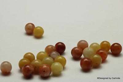 Ca24sts schitterende Honing Jade kralen, ca.8mm, in mooie ton-sur-ton tinten K2325