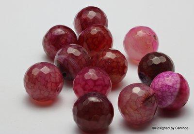 Gefacetteerde Cherry Agaat kralen, ca.16mm, Voor een nieuw begin K2225