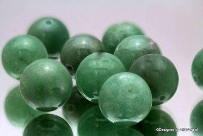 14 stuks Reuze kraal groene Aventurijn 14 mm K309