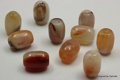 Lichte, met oranje/bruin opvlammende, Carneool agaat beads, ca.20x13mm, 10sts. K2358