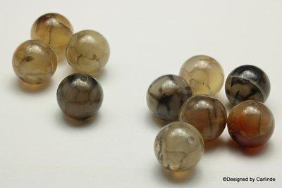 Heldere agaat kralen in natuurtinten  ca.15mm K2338