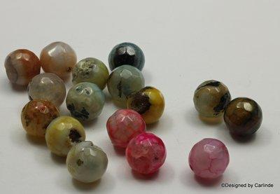 Agaat kralen in zomerse kleurtjes, ca.10mm, ca.15sts_K2344