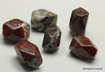 Meervlakkige, multicollored  jaspis kralen, ca.20x15mm,  K2334