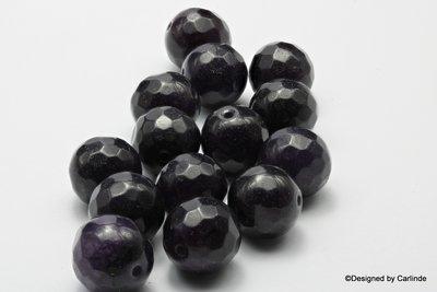 14sts Gefacetteerde zeer donker paarse agaat kralen 13x13mm K614