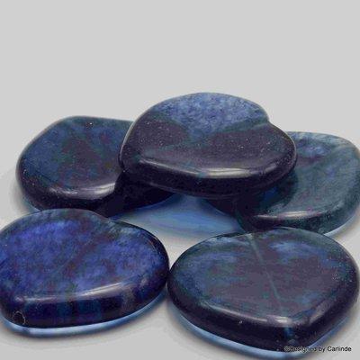 5 Reuze Hart Kralen van Gewolkte Saffier Quarz K2060