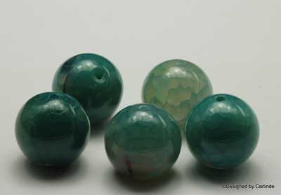 5 Schitterende, 20mm, zeegroen/blauwe DragonVeins agaat kralen K2324