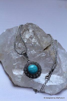 Mooi Collier van Tibet Silver met  Turkoois C116