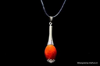 Krachtige sphere geslepen Breccie Jaspis  uit Minas Gerais incl  gratis leren halskoord C352