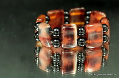 Meerkleurige Armband van Carneool Agaat A1094