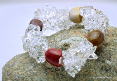 Chique geslepen armband van AAA Bergkristal en Grote Mookait  Nuggets A1319