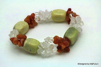Schitterend armband van Carneool, Bergkristal en Chrysopraas A2036
