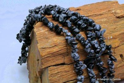 90cm  Mooie Sneeuwvlok obsidiaan   split collier  K301_334