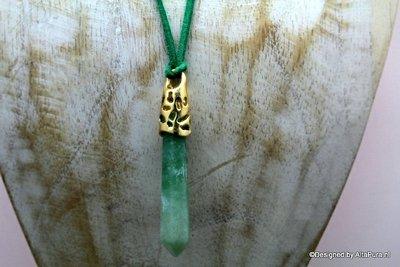 Mooie talisman van 100% zuivere Aventurijn incl suede halskoord  C520 ruim 5cm lang