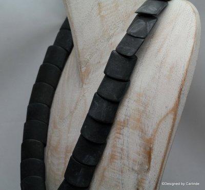 Chique Geschakeld Australische Zwarte RAW obsidiaan collier  C628