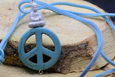 Krachtige talisman van Bhudda met Turquereniet Peace teken C506