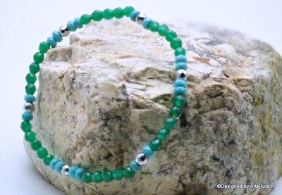 Mooie  Armband van Geslepen Smaragd Agaat, Turquereniet  met Hematiet A1318