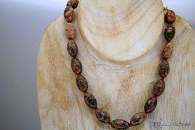 49 cm Dark Snake skin Jaspis collier ca 20 grote kralen C637