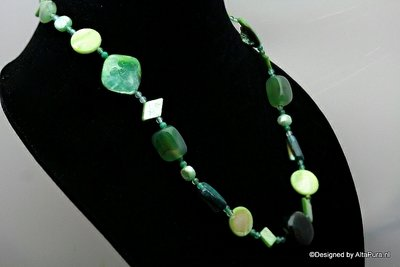 Schitterend Collier 48 cm Groen agaat met groene powershell  C577