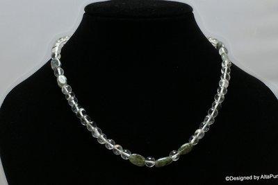 Schitterend  Collier Braziliaanse bergkristal  met groene Tourmalijn Quarz  C313