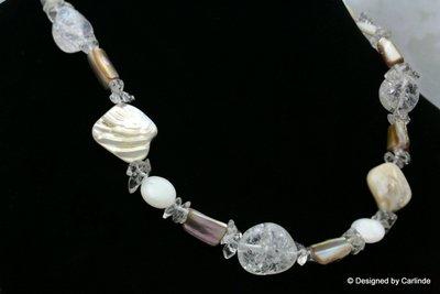 Handgemaakt Collier van Bergkristal en Originele Parels C583