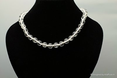48 cm Bergkristal collier ca 35 -38  10 mm kralen C2091