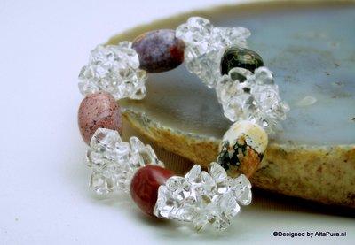 Chique geslepen armband van AAA Bergkristal en Grote Dessert Earth Nuggets A1342